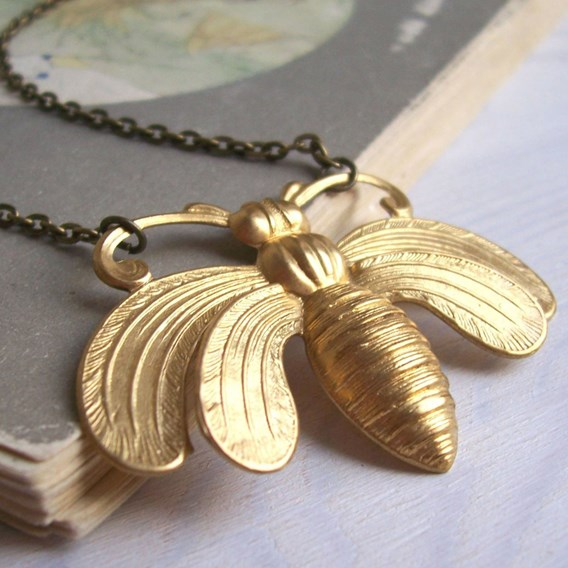 Honey Bee Necklace Brass