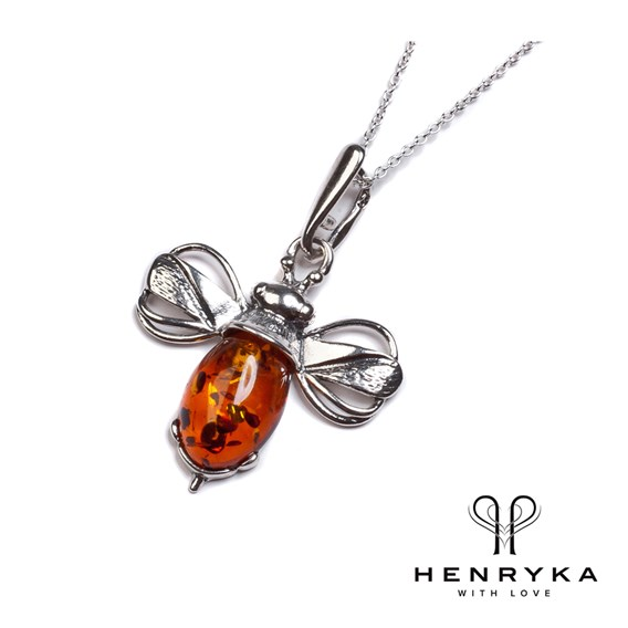 Miniature Bumble Bee Necklace in Silver/Cognac Amber (18