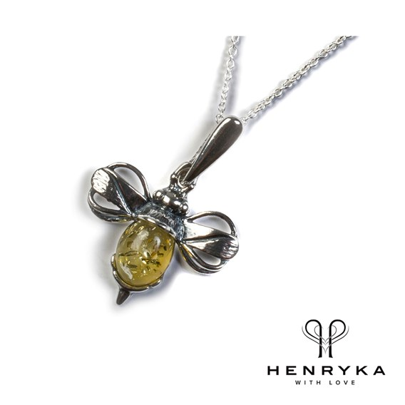 Miniature Bumble Bee Necklace in Silver/Yellow Amber (19