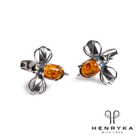 Bumble Bee Cufflinks in Silver and Cognac Amber