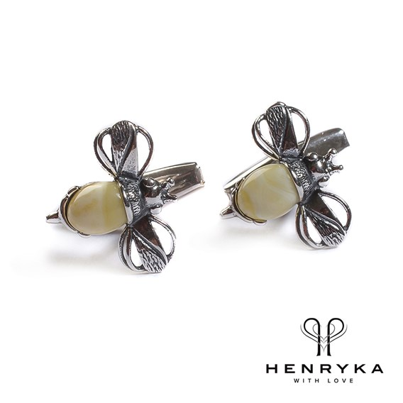 Bumble Bee Cufflinks in Silver and Milky Amber