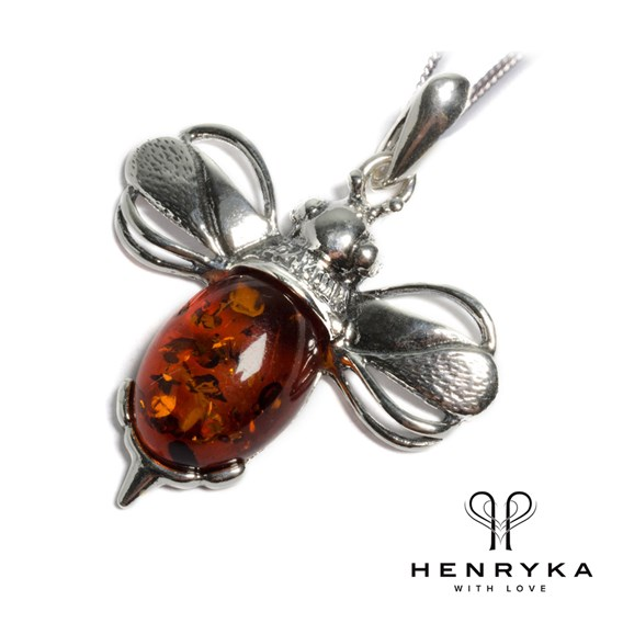 Large Bumble Bee Necklace in Silver and Cognac Amber (18