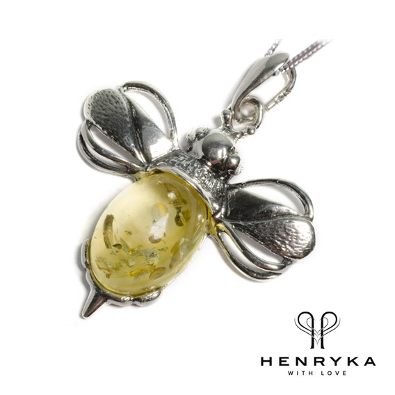 Large Bumble Bee Necklace in Silver and Yellow Amber (18