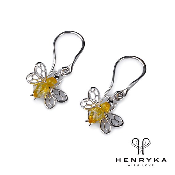 Tiny Honey Bee Drop Earrings in Silver and Yellow Amber