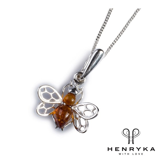 Tiny Honey Bee Necklace in Silver and Cognac Amber (18