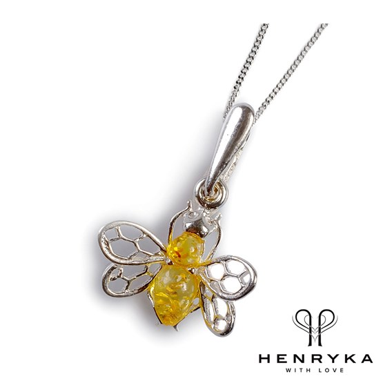 Tiny Honey Bee Necklace in Silver and Yellow Amber (18