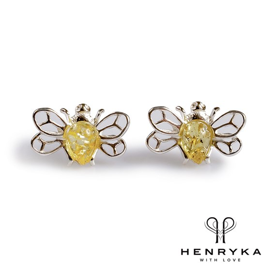 Tiny Honey Bee Stud Earrings in Silver and Yellow Amber