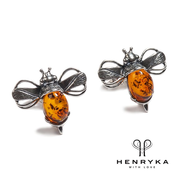 Bumble Bee Stud Earrings in Silver and Cognac Amber