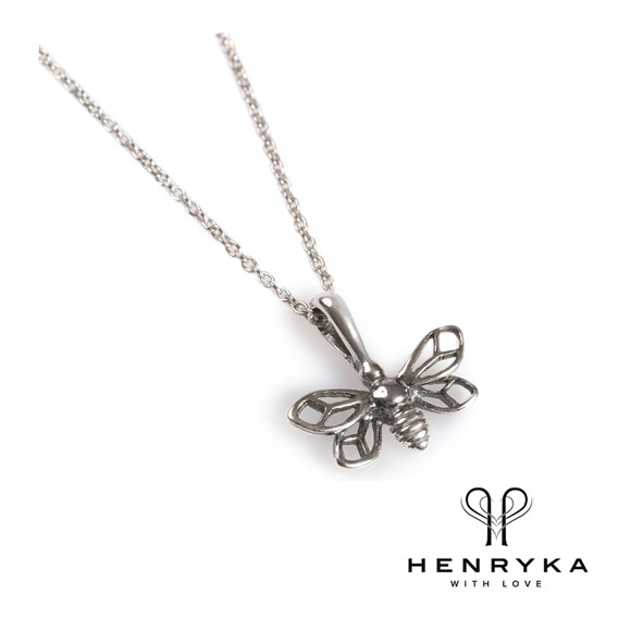 Miniature Bumble Bee Necklace in Silver (18