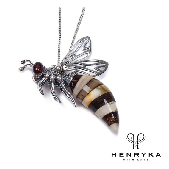 Small Hornet Necklace in Silver and Amber (18