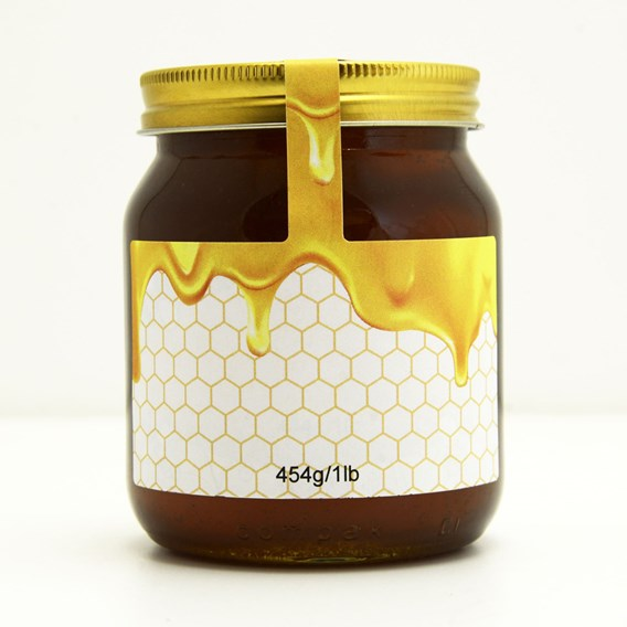 100 Personalised Jar And Tamper Labels - Honey Drizzle